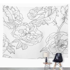 White and Black Flower Tapestry